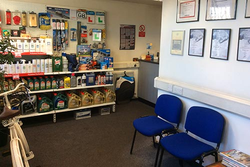 Our Witney garage reception area